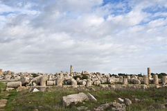 Selinunte ruins. Ancient temple ruins in Selinunte in Sicily Royalty Free Stock Photos