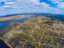 Selishche village near Lake Volga. Shooting with the bird`s eye view of  Tver region Royalty Free Stock Photo