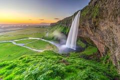 Seljalandfoss στο όμορφο φως ηλιοβασιλέματος, Ισλανδία στοκ φωτογραφίες με δικαίωμα ελεύθερης χρήσης