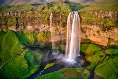 Seljalandfoss from aerial view, Iceland stock photos