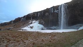 Seljalandfoss in 4k during february stock footage
