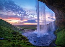 Seljalandfoss vattenfall. Arkivfoto