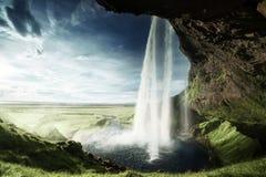 Seljalandfoss vattenfall i sommartid Fotografering för Bildbyråer