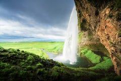 Seljalandfoss waterfall in summer time Stock Photo