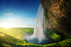 Seljalandfoss waterfall in summer time Stock Images