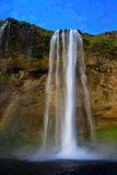 Seljalandfoss waterfall at sunset, Iceland stock photos