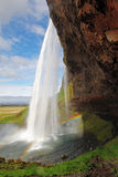 Seljalandsfoss。美丽的瀑布在南冰岛。 免版税库存图片