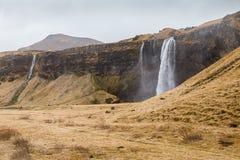 Seljalandsfoss, ένας μεγάλος καταρράκτης στη νότια Ισλανδία Στοκ Εικόνα