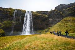 Seljalandsfoss, cascada famosa en Islandia fotografía de archivo libre de regalías
