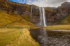 Seljalandsfoss maestoso Fotografia Stock Libera da Diritti