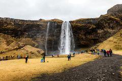 Seljalandsfoss is one of the most beautiful waterfalls on the Ic Royalty Free Stock Photos