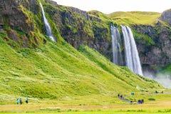 Seljalandsfoss siklawy teren Obrazy Royalty Free