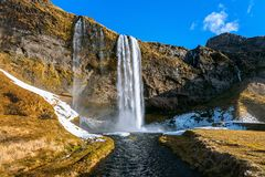Seljalandsfoss vattenfall, härlig vattenfall i Island royaltyfria bilder