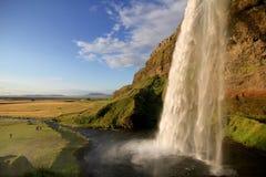 Seljalandsfoss waterfall. At dusk, near the Eyjafjallajokull glacier in South Iceland royalty free stock photos