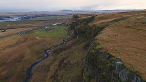 Seljalandsfoss waterfall aerial shot stock video footage