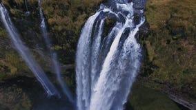 Seljalandsfoss waterfall aerial shot stock footage