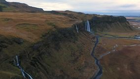 Seljalandsfoss waterfall aerial shot stock video
