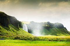 Seljalandsfoss waterfall in Iceland. Royalty Free Stock Photography