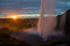 Seljalandsfoss. Is a waterfall in Iceland.  is located in the South Region in Iceland right by Route 1 and the road that leads to Þórsmörk Road 249 royalty free stock photos