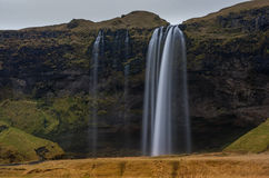 Seljalandsfoss Waterfall in Iceland. One of the Most Famous Waterfall In Iceland. Long Exposure Photo Stock Image