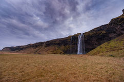 Seljalandsfoss Waterfall in Iceland. One of the Most Famous Waterfall In Iceland. Long Exposure Photo Royalty Free Stock Photos