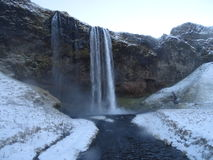 Seljalandsfoss waterfall, iceland. Paisaje navideño de una espectacular cascada Stock Photos