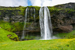 Seljalandsfoss waterfall, Iceland - uncrowded front view. On a sunny summer day Stock Photo
