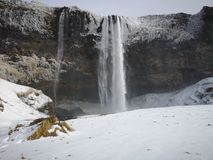 Seljalandsfoss waterfall in winter. Iceland. Seljalandsfoss is a waterfall located in the southeastern Iceland. It is part of the tourist route of the Golden royalty free stock photography