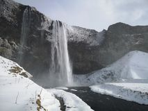 Seljalandsfoss waterfall in winter. Iceland. Seljalandsfoss is a waterfall located in the southeastern Iceland. It is part of the tourist route of the Golden royalty free stock photo
