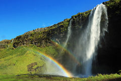 Seljalandsfoss waterfall, near Eyjafjallajokull glacier in South Stock Image