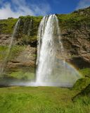 Seljalandsfoss waterfall in the river Seljalands a 60 meters 197 ft cascade, next to route 1 in the southern Iceland. It is royalty free stock photography
