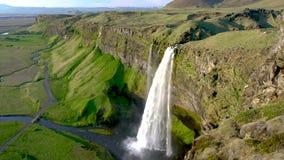 Seljalandsfoss waterfall in Iceland stock video