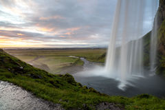 Seljalandsfoss waterfall after sunset,  South-West Iceland Royalty Free Stock Photos