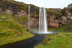 Seljalandsfoss waterfall after sunset, South-West Iceland Stock Photo