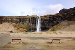 Seljalandsfoss, waterval in Zuid-IJsland, bankenvoorgrond Stock Fotografie