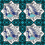 Seljuk style Iznik seamless pattern. Seljuk-Turkish style Iznik tile seamless pattern design with stylized bird in octonal composition and floral decorations Stock Photography