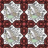 Seljuk style Iznik seamless pattern stock illustration