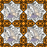 Seljuk style Iznik seamless pattern. Seljuk-Turkish style Iznik tile seamless pattern design with stylized bird in octonal composition and floral decorations Royalty Free Stock Photo