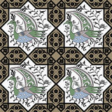Seljuk style Iznik seamless pattern. Seljuk-Turkish style Iznik tile seamless pattern design with stylized bird in octonal composition and floral decorations Royalty Free Stock Images
