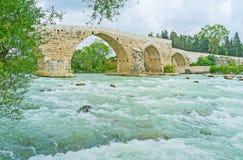 Seljuq bridge in Aspendos Royalty Free Stock Photos