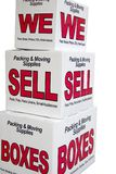 We sell boxes. Advertisement for moving company Stock Photo
