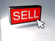 Sell button, 3d render Royalty Free Stock Photos