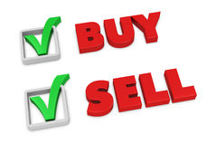 Sell and buy. The words sell and buy with a check mark beside them (3d render Stock Image