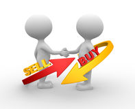 Sell or buy. 3d people - man, person with arrows. Deal concept. Sell or buy Stock Photography