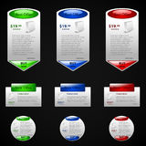 Sell and buy labels. Set of 3 different labels in green, blue and red colors Royalty Free Stock Photography