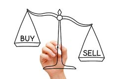 Sell Or Buy Scale Concept. Hand drawing Sell or Buy scale concept with marker on transparent wipe board isolated on white stock images