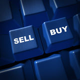 Sell buy stocks trading business symbol financial. Sell and buy computer keyboard key representing buying and selling of stocks or goods Stock Images
