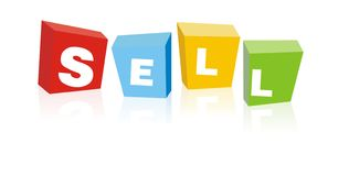 Sell color buttons. Colorized sell red, button, blue, yellow and green Royalty Free Stock Images