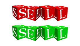 Sell of cubes stock illustration