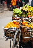 For Sell Fresh fruits on bicycle. Streetwise vendor in Nepal selling their fruit on a bike royalty free stock photo
